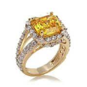 Jean Dousset 7.65ct Absolute Canary Asscher-cut And Clear Vermeil Ring Size 6