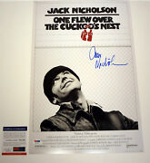 Jack Nicholson Signed One Flew Over The Cuckoos Nest Movie Poster Psa/dna Coa