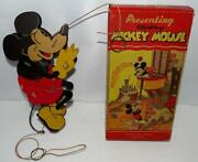 Rare Nos Boxed Setdisney Climbing Mickey Mousemechanical Toy By Dolly Toy Co.