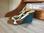 Louis Vuitton Heels Wedges Platform Leather Size 39-9 Italy 10 Long Ankle Strap
