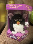 Black Furby, 1998, Pink Ears, White Belly. Brand New In Box, Factory Sealed.