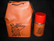 1950and039s Davy Crockett Vinyl Lunch Box And Thermos Vintage Unused Mint Prototype
