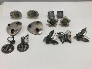 Vintage Sterling Silver Mexico Lot Of 5 Earrings And 1 Set Of Earring And Pin