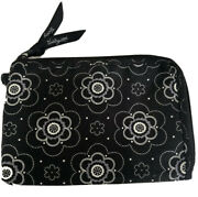 Thirty One Soft Wallet With Flowers Black And White Zip Up