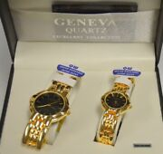 Geneva Quartz Watches - His And Hers - Gold Tone-bracelet With Black Face.
