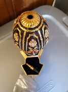 Very Rare Franklin Mint Gold And Silver Jeweled Egg W/ Miniture Chess Set Inside