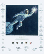 Alan Bean Limited Edition Giclee Canvas Signed Numbered Reaching For The Stars