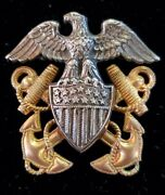 Wwii Us Navy Balfour Sterling And Gold Filled Marked Overseas Hat Badge Pin Eagle