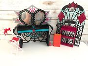 Monster High Doll House Furniture Lot Vanity/chair/suitcase Euc