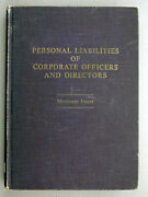 Personal Liabilities Of Corporate Officers And Directors 1961 First Edition