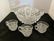 Small Pressed Glass Punch Bowl With 3 Cups Oval Button High Relief Star