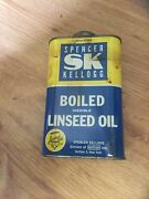 Vintage Spencer Kellogg's Boiled Inedible Linseed Oil Tin, Great Colors