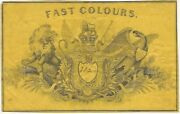 19th Century Elaborate Engraved 'fast Colours' English - American Textile Label
