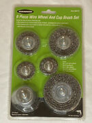 6pc Wire Brush Set 1/4 Shank Power Drill Wheel Cup Deburr Remove Rust Crimped