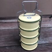 Thai Traditional Enamelware Rabbit Brand Yellow Lunch Box Container Pinto 12 Cm