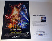 Harrison Ford Signed Star Wars The Force Awakens Movie Poster Psa/dna Coa 2