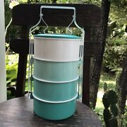 Thai Traditional Enamelware Fancy Tiffin Green Lunch Box Container Large 14 Cm
