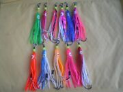 100 Pcs. 2 S.s. Assist Hooks 3/0 W/squid Skirt Hoochie Bait And S.s. Wire Leader