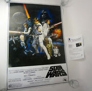 George Lucas Star Wars Signed Autograph Full Size Movie Poster Beckett Bas Coa