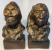 Antique Two Piegans Eagle Calf And Medicine Bossribs Bronzes Signed Beil