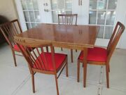 Vintage Farmhouse Style Wood Dining Room Set Foldable Extra Leaf 4 Chairs 1960s