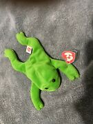 Ty Beanie Babies Legs The Frog Many Errors Missing Starstamp No Name On Tush