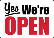 Yes We're Open 3- Retail Storefront Window   Adhesive Vinyl Sign Decal