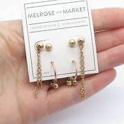 Old Stock Melrose And Market Hammered Drop Stud Earrings Set In Gold Tone