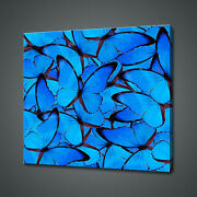 Abstract Blue Butterflies Beautiful Canvas Print Wall Art Picture Photo