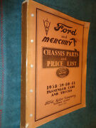 1938-1941 Ford Car And Truck / Mercury Chassis Parts Catalog / Book Manual Orig