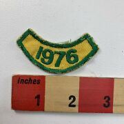 Vintage Year 1976 Patch Tab Green Embroidery On Yellow Twill Birth Year S91e