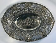 Antique 19th Century 925 Sterling Silver Embossed Cherubs And Roses Dish Plate