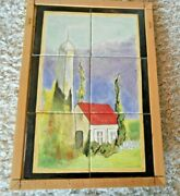 Hand Painted Tile Art Large 18 X 12 6 X 6 Tiles From Estate Of Diana Stewart