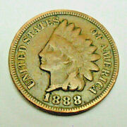 1888 P Indian Head Cent Penny Vf - Very Fine Details Free Shipping