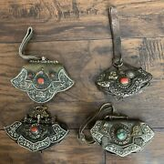 A Lot Of Four Old Antique Tibetan Flint Leather Pouches Bag Coral Turquoise Bead