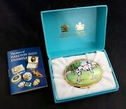 Halcyon Days And Co Dalmatian Fire Dept. Trinket Box Oval Hinged Porcelain