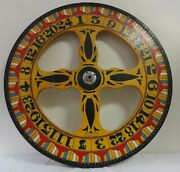 Exceptional Antique H.c.evans 36 Folk Art Painted Carnival Or Game Wheel