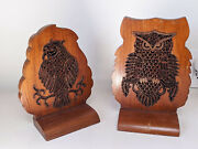 Vintage Metal Inlay Of Owl Profile On Wooden Wall Hanging Shelves Or Book Ends