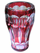 Large Vintage Bohemian Red Cut-to-clear Glass Vase