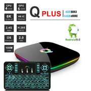 Android 9.0 Qbox+ 64gb/4gb Ddr Hdr 4k Wifi Streaming Tv Box+color Keypad Control