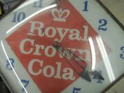 Vintage Royal Crown Cola Clock W/ Curved Glass Front Early 60and039s