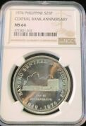 1974 Philippines Silver 25 Piso Central Bank Anniversary Ngc Ms 64 Bu Beautiful