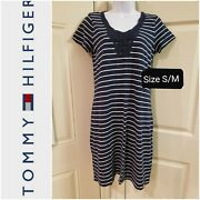Women's 100 Cotton Blue/which Striped Knee-length Dress Size S/m