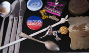 Lot Airline Flatware, Clinton Button, Playboy And Misc. Vintage Collectibles