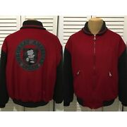 Iceberg Full Zip Jacket Wool Cashmere Red Gray Charlie Brown Peanuts Size 50