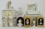 Precious Moments Lot Of 6 Christmas Ornaments Winter Sharing Music Vintage