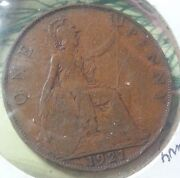 Uk Great Britain 1921 Large Penny Bronze 31 Mm