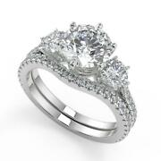 2.3 Ct Round Cut 3 Stone French Pave Diamond Engagement Ring Set Si2 D 14k