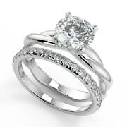 1.95 Ct Round Cut Infinity Solitaire Rope Diamond Engagement Ring Set Si1 F 18k