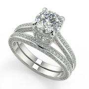 3.15 Ct Round Cut Micro Pave Double Prong Diamond Engagement Ring Set Si2 D 18k